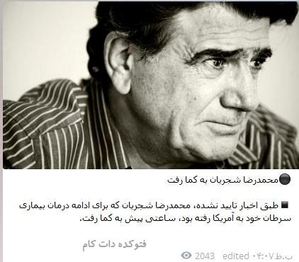محمدرضا شجریان به کما رفت,کام رفتن محمدرضا شجریان صحت دارد