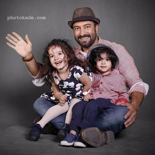 عکس دوقلوهای مجید صالحی بازیگر و مجری