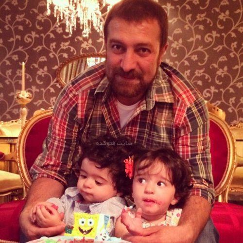 عکس جدید مجید صالحی و دوقلوهایش حنا و آروین