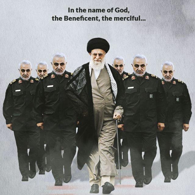 عکس نوشته پروفایل سپهبد سلیمانی با رهبری