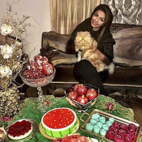 عکس مهسا کامیابی و گربه خانگی اش در در شب یلدا