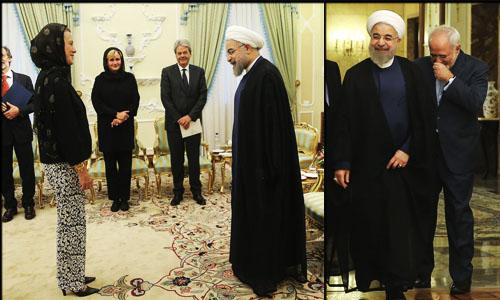 عکس لباس جالب زن ایتالیایی و خنده ظریف در دیدار با روحانی,لباس راحتی زن هئیت ایتالیایی در دیدار با حسن روحانی,خنده های عجیب ظریف به شلوار مامان دوز زن